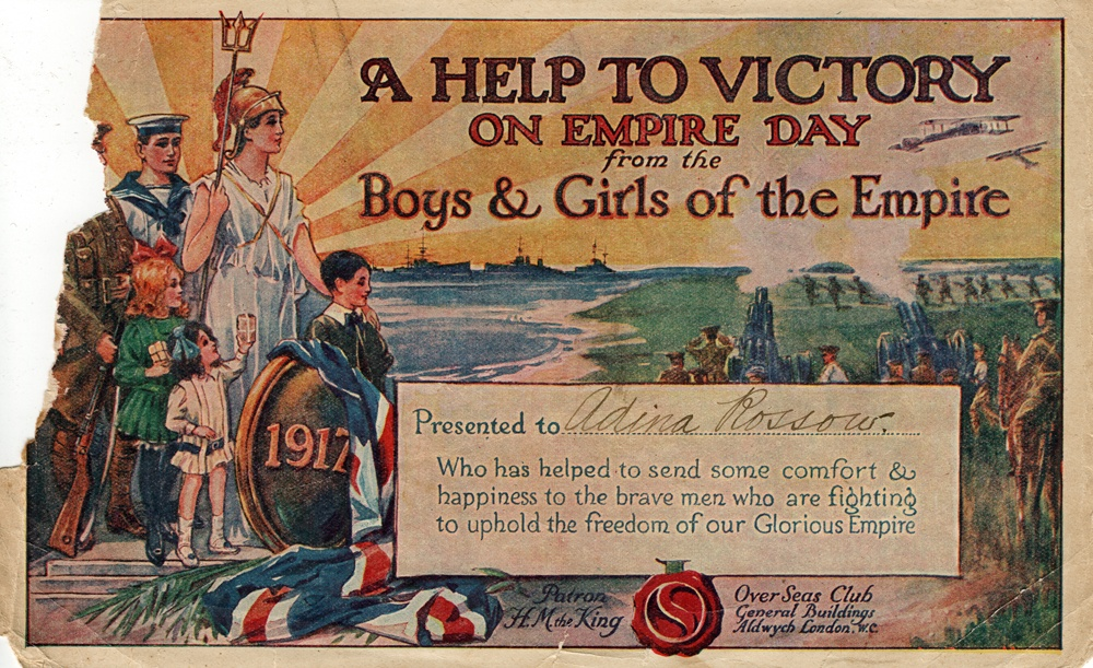 'A Help to Victory on Empire Day from the Boys and Girls of the Empire', certificate, presented to Adina Rossow, of Brassall, Ipswich, 1917
