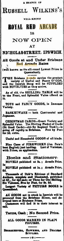 Red Arcade advertisement - from Queensland Times Ipswich Herald and General Advertiser, 4 December 1894, p.1.