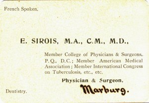 Business card of Doctor Euchariste Sirois, Marburg, 1909